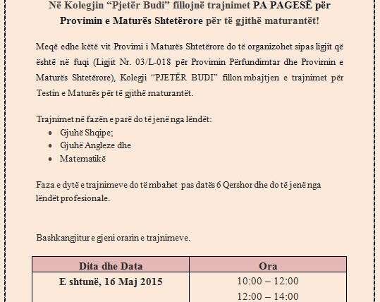 """Në Kolegjin """"Pjetër Budi"""" fillojnë trajnimet PA PAGESË për Provimin e Maturës Shtetërore për të gjithë maturantët!"""
